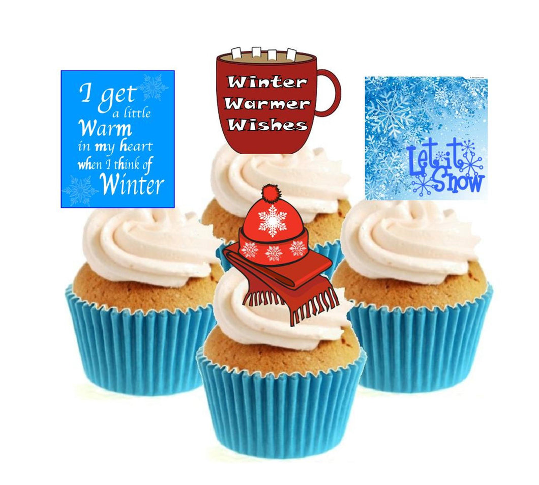 Winter Warmer Collection Stand Up Cake Toppers (12 pack)