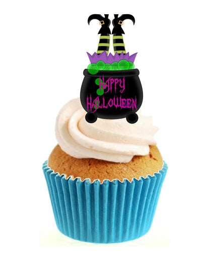 Witch in Cauldron Stand Up Cake Toppers (12 pack)