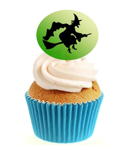 Witch Silhouette (A) Stand Up Cake Toppers (12 pack)