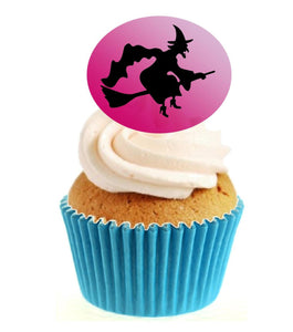 Witch Silhouette (B) Stand Up Cake Toppers (12 pack)