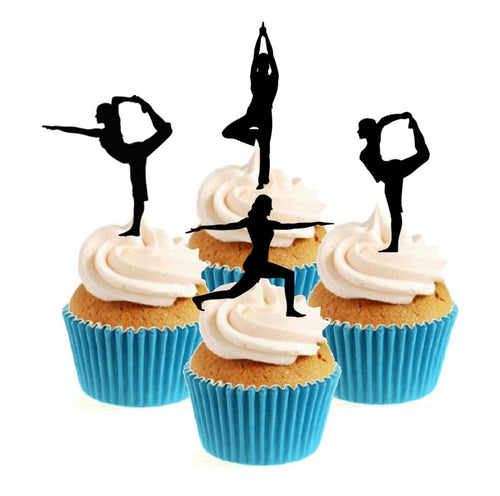 Yoga Silhouette Collection Stand Up Cake Toppers (12 pack)