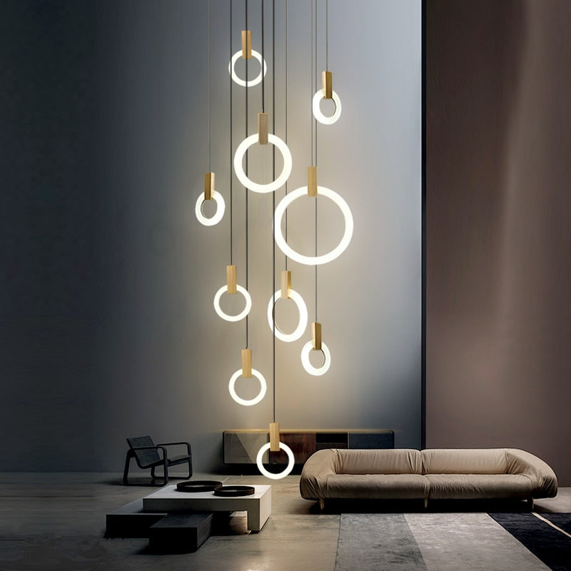Lustre Bois Design Cercle LED