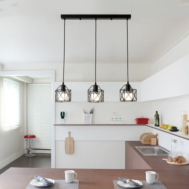 Suspension Industrielle 3 Lampes Noire | Lustre Shop