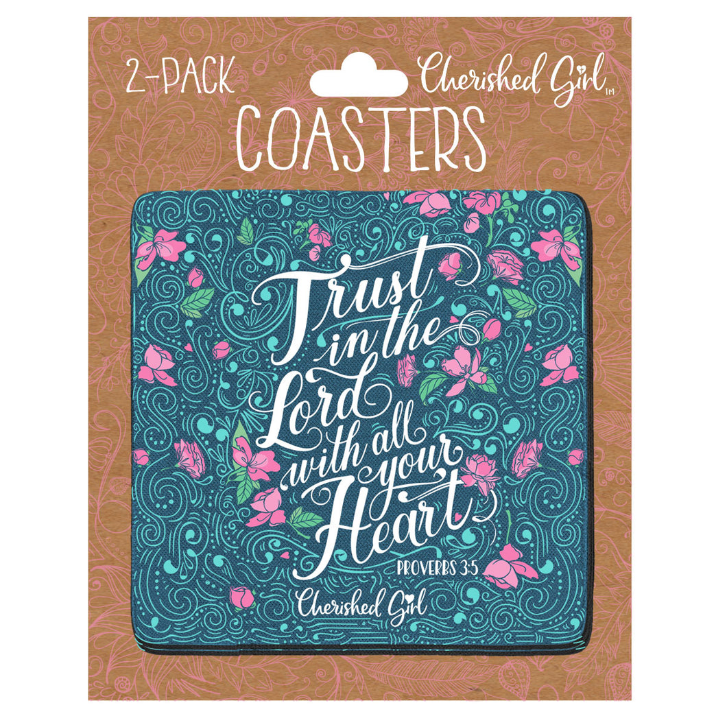 Cherished Girl Trust In The Lord Drink Coasters