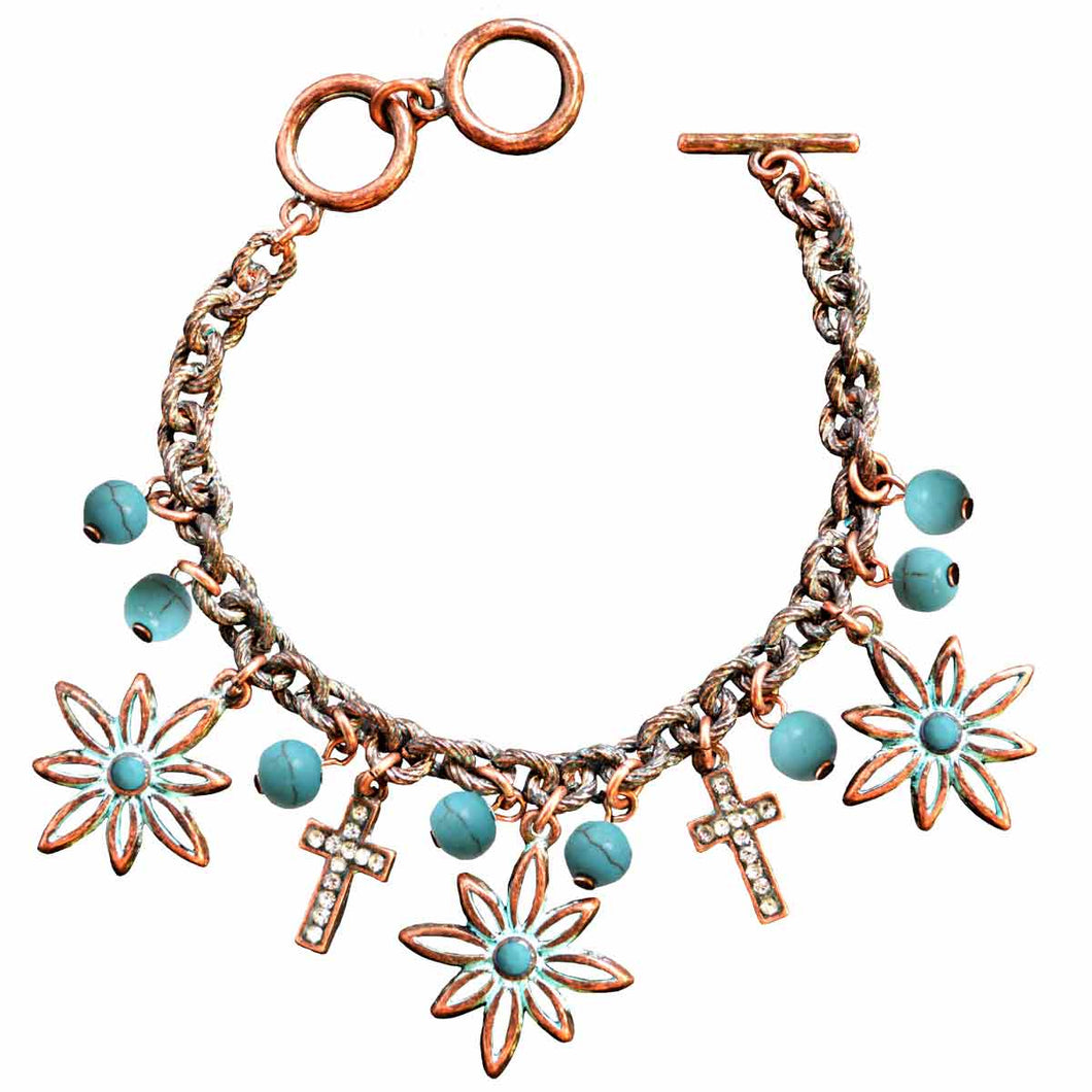 Faith Gear Flower Cross Copper Womens Bracelet