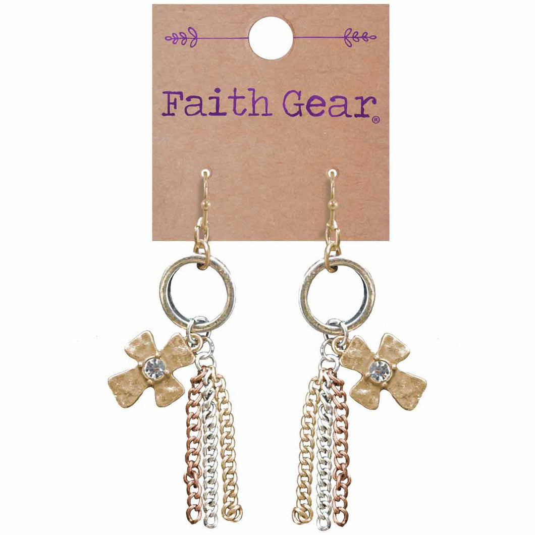 Faith Gear Tassel Crosses Womens Earrings