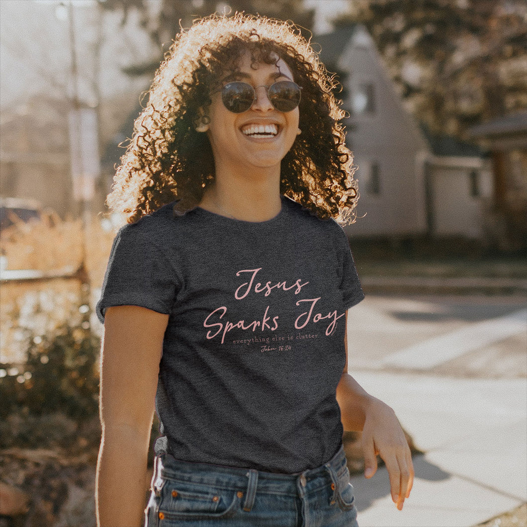 grace & truth Womens T-Shirt Jesus Sparks Joy