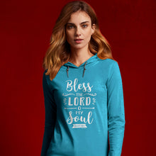 Load image into Gallery viewer, grace & truth Womens Hooded T-Shirt Bless The Lord