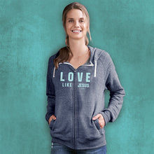 Load image into Gallery viewer, grace & truth Womens French Terry Zip Hoody Love Like Jesus