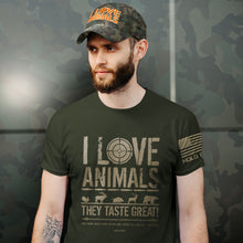 Load image into Gallery viewer, HOLD FAST Mens T-Shirt I Love Animals