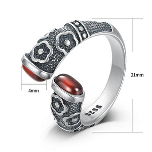 Traditional Norse Open Ring in 925 Sterling Silver Inlaid with Garnet Stones - Adjustable Ring