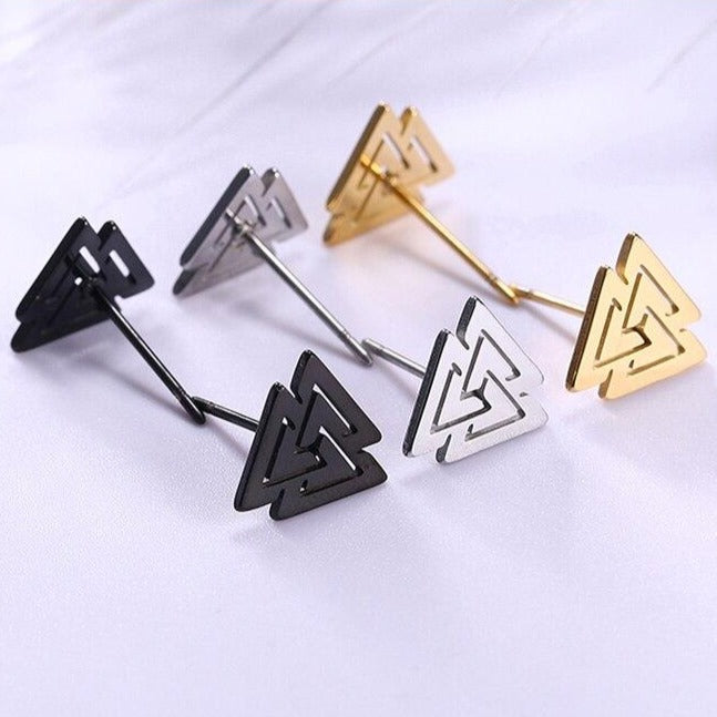 Triskele and Valknut Surgical Steel Stud Earrings
