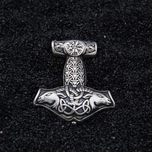 Mjolnir and Thor's goats - 925 Sterling Silver Pendant with leather necklace