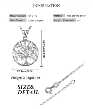 Yggdrasil on Spring, The Tree of Life Necklace 925 Sliver with AAA Zircon Stones