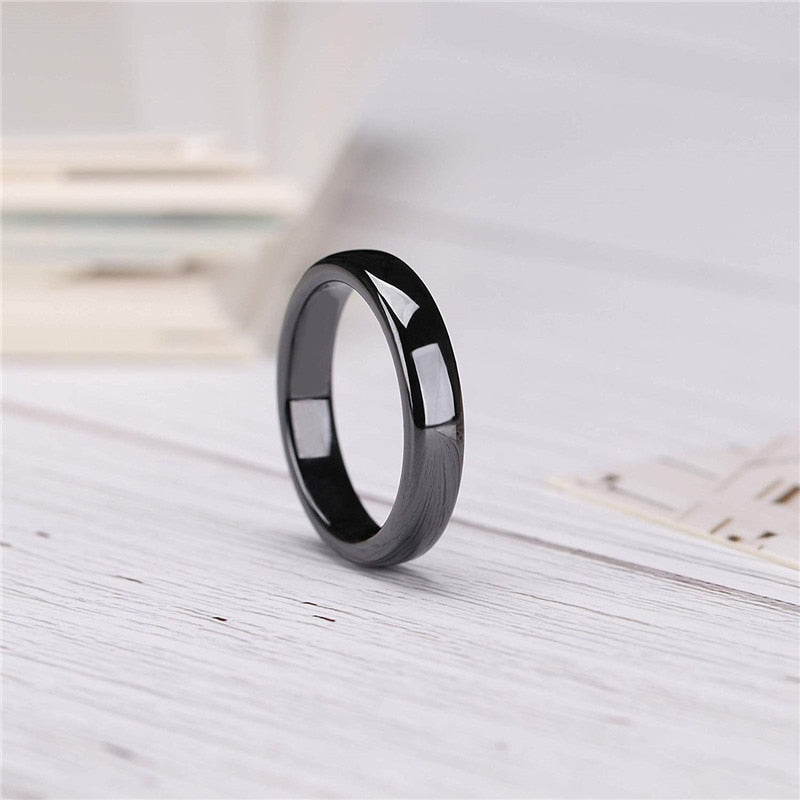 Ullr Oath Ring Smooth Black Ceramic Wedding Band