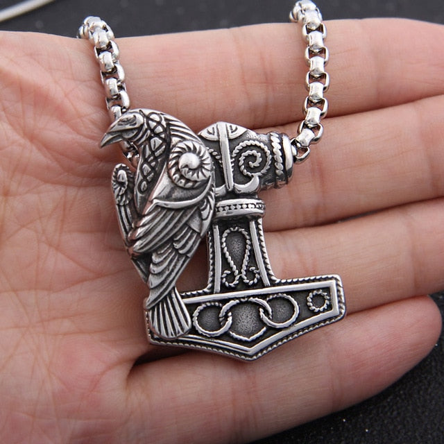 Thor's Hammer Mjolnir with Odin Raven Stainless Steel Necklace