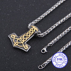 Mjolnir Necklace with Bass Relief Stainless Steel Necklace