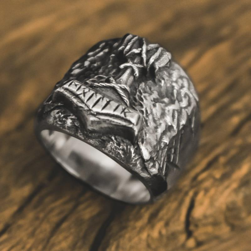Thor the son of Odin Mjölnir Hammer Stainless Steel Rune Ring