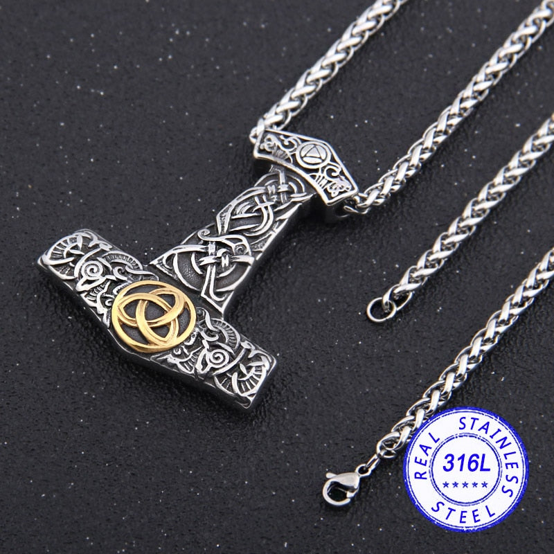 Mjolnir Necklace with Triskele Bass Relief Stainless Steel Necklace
