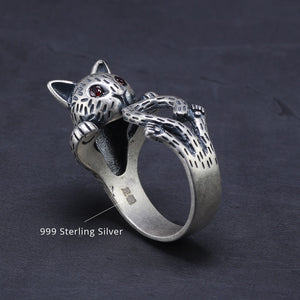 Freya's Cat Adjustable Ring in 999 Silver