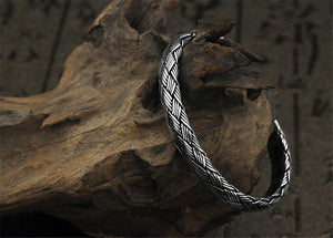 Weaved Gleipnir Arm Ring 925 Sterling Silver Bangle