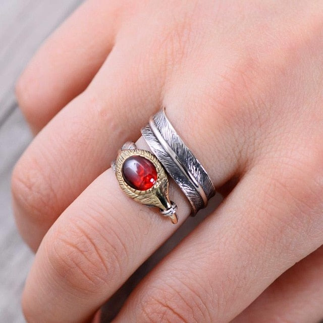 Hugin and Munin Silver Feathers 925 Sterling Silver Adjustable Ring with Natural Garnet Stone