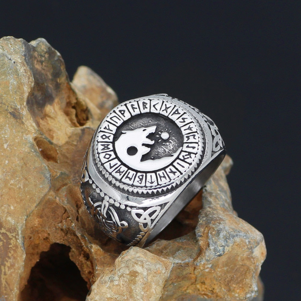 Sköll and Hati, Sons of Fenrir Stainless Steel Ring