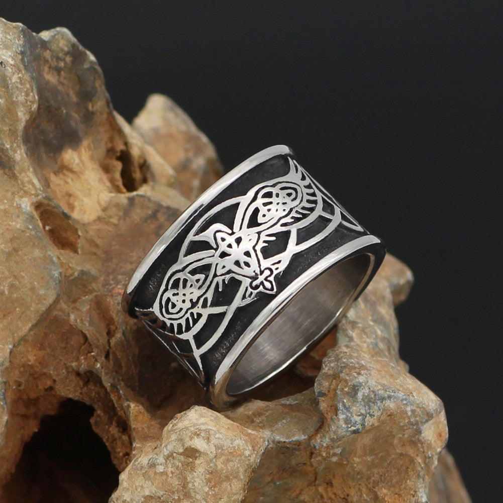 Odin's Raven with Wolf Stainless Steel Ring