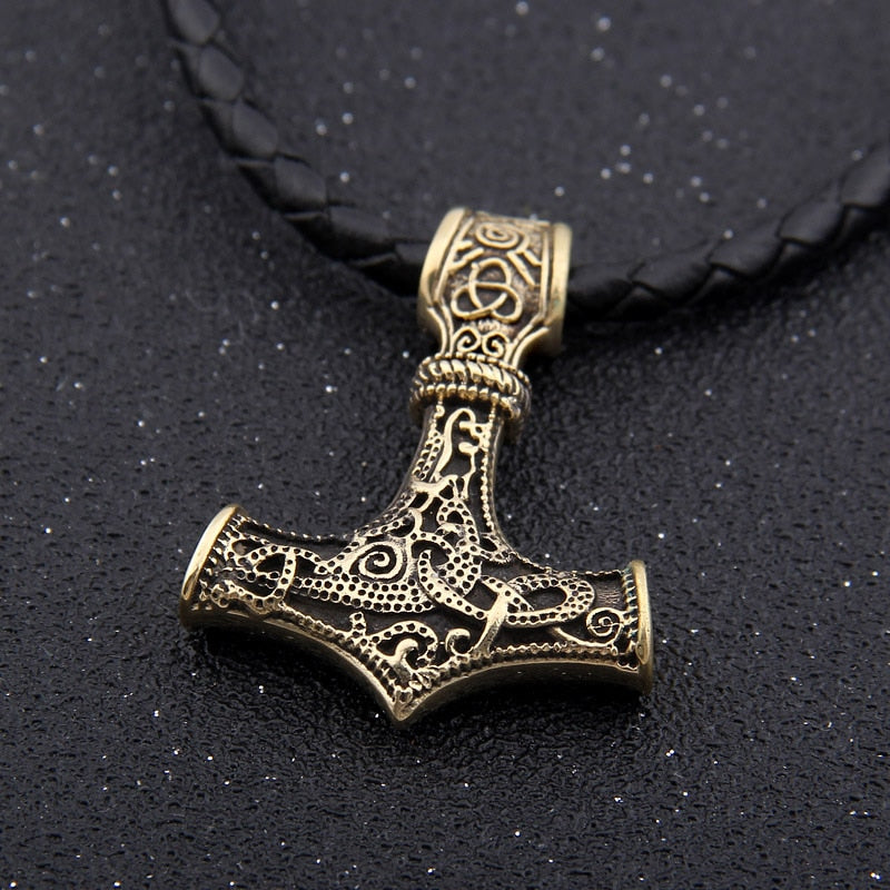 Brass Mjölnir Necklace Thor's Hammer with Norse Knot Motif