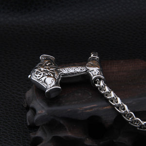 Mjolnir and Thor's Goats Stainless Steel Necklace