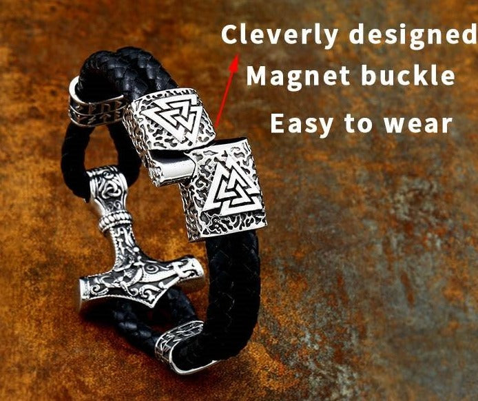 Mjolnir Leather Bracelet with Magnetic Buckle