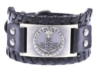 Thor Hammer Mjolnir Leather  Bracelet