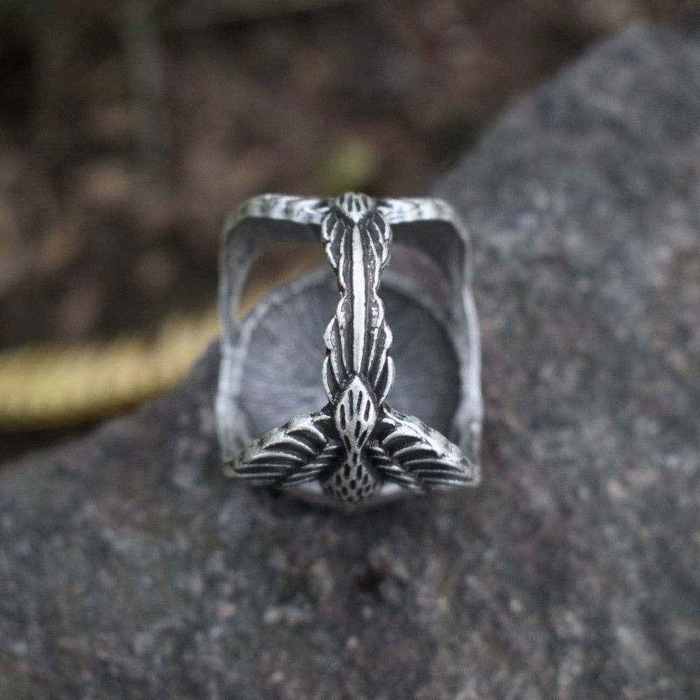 Huginn and Muninn bring Vegvisir - Odin Ravens Ring