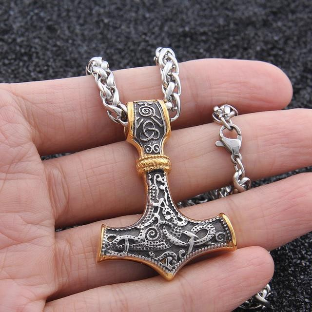 Mjolnir - Thor's hammer with Norse Knot Stainless Steel Necklace
