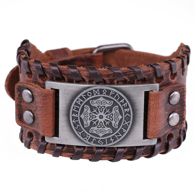 Mjölnir Leather Bracelet With Runes
