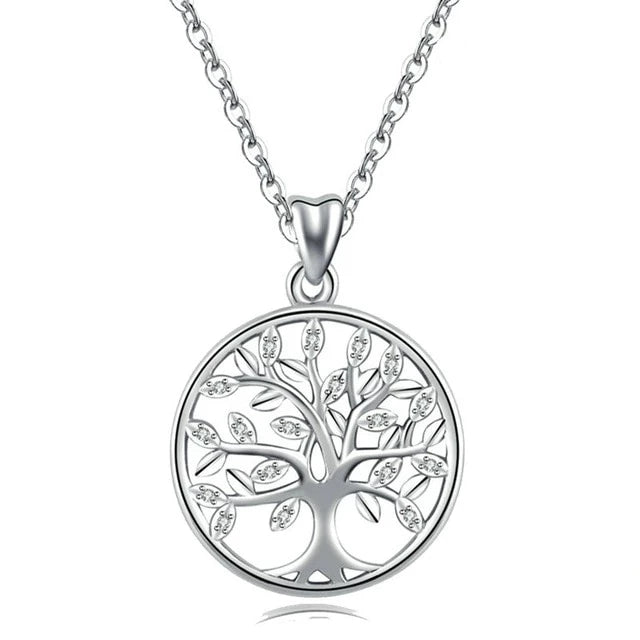 Ygdrasil on Spring, The Tree of Life Necklace 925 Sliver with AAA Zircon Stones