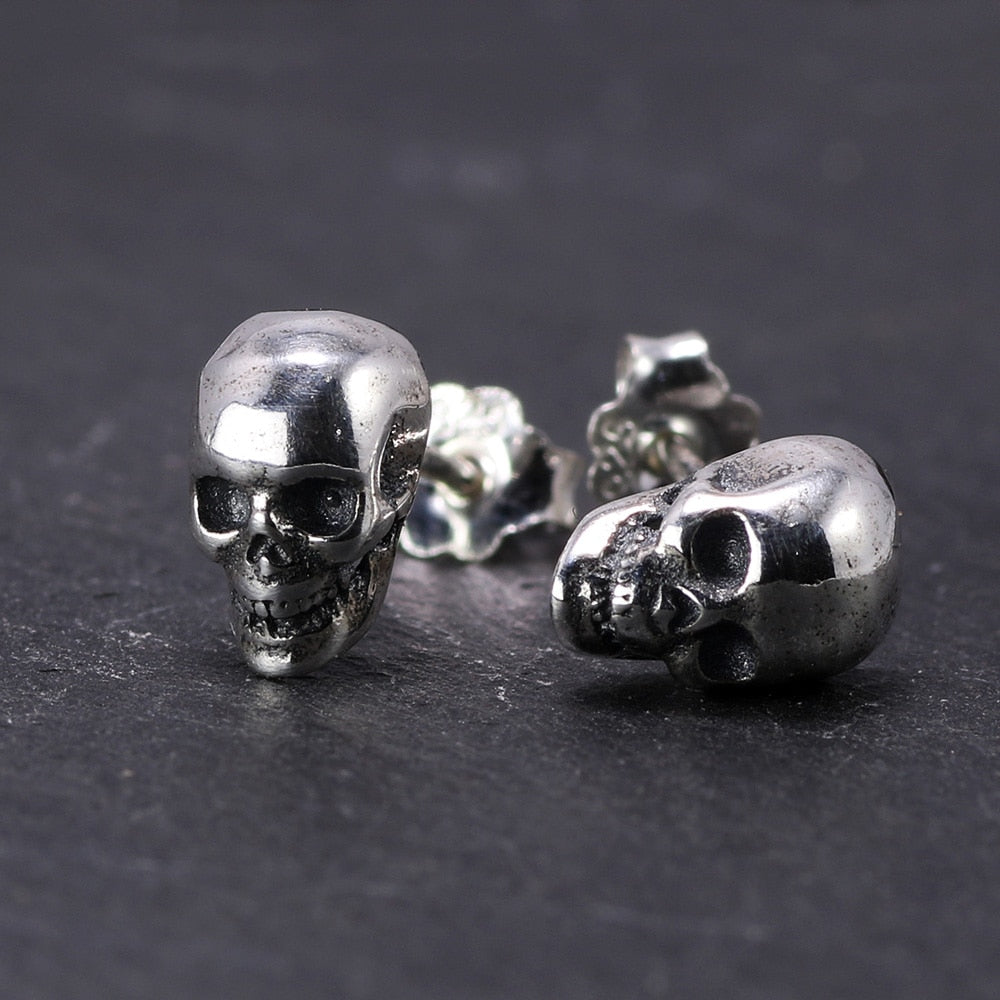 925 Sterling Silver Hel Skull Earrings