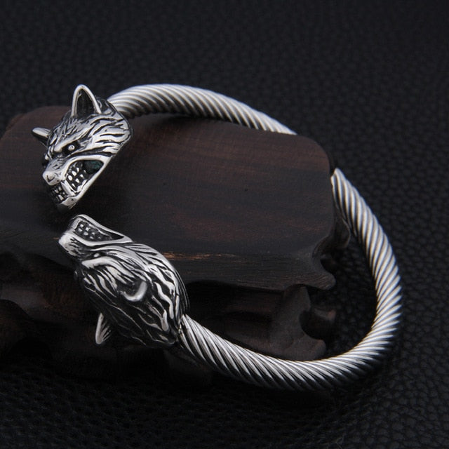 Geri and Freki - Odin's Wolves Stainless Steel Bracelet