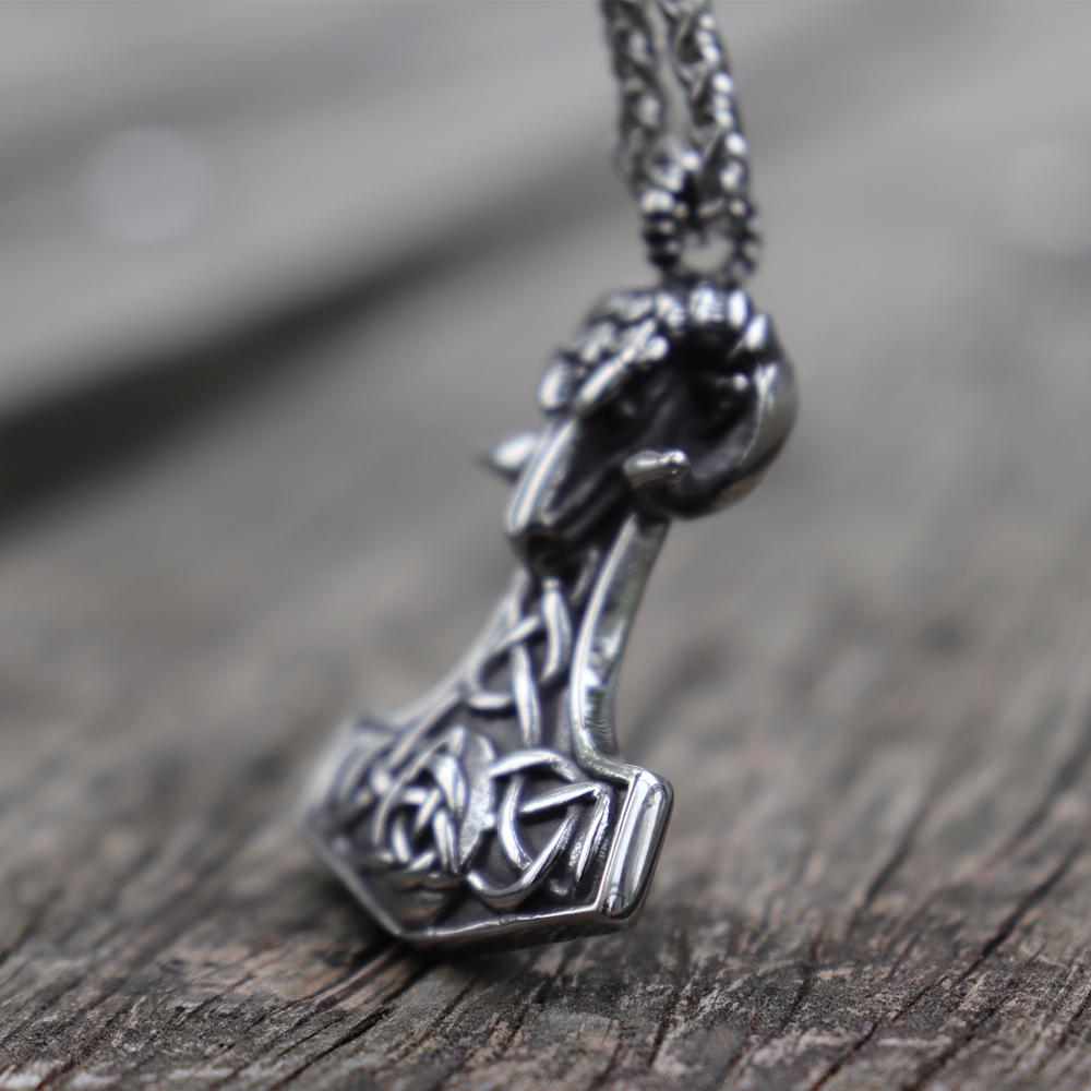 Mjolnir Thor's Hammer with Ram Head Stainless Steel Pendant