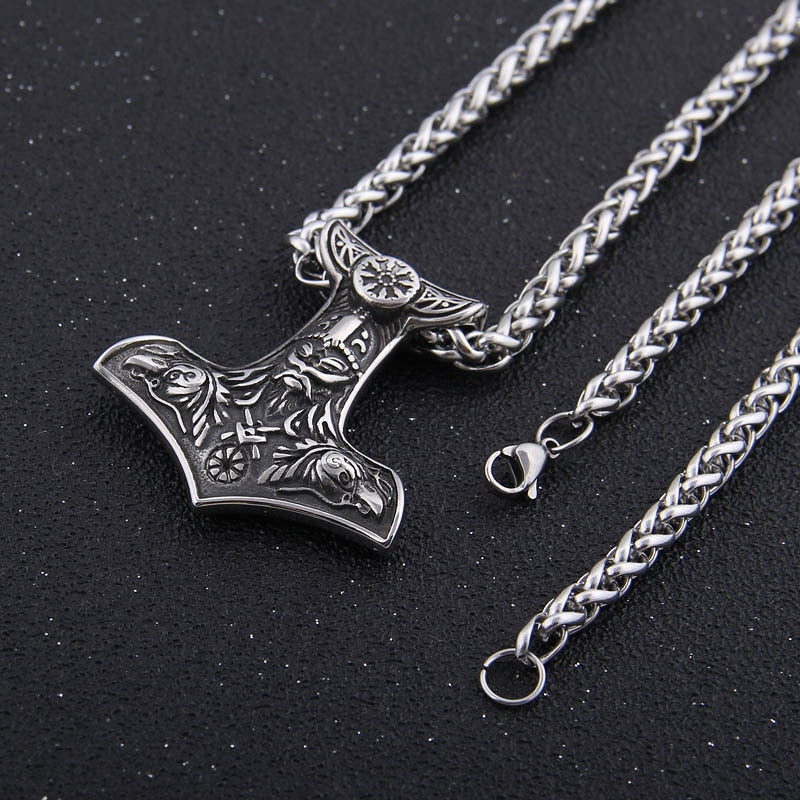 Mjolnir Stainless Steel Necklace Woith Odin's Ravens