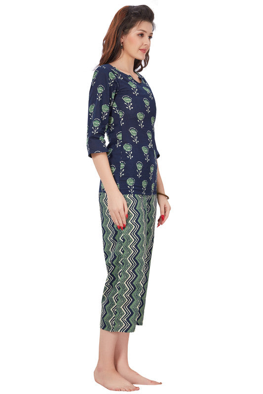 Women Navy & Green Printed Cotton Night Suit- 1088 - The Loungewear