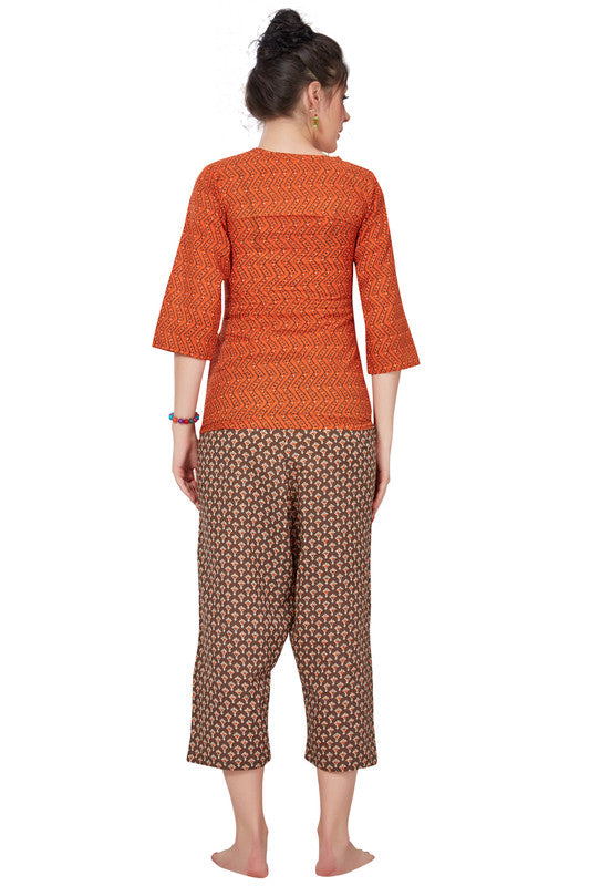 Rust & Brown Printed Cotton Night Suit- 1087 - The Loungewear