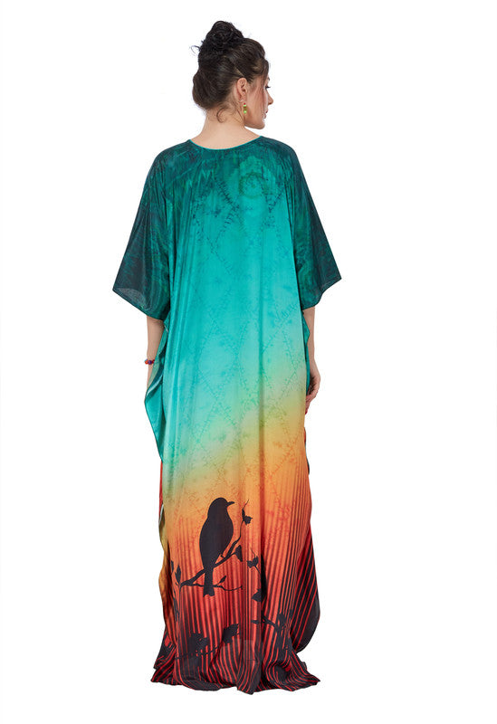 Sea Green & Golden Rust Digital Print French Crepe Kaftan - 1095 - The Loungewear