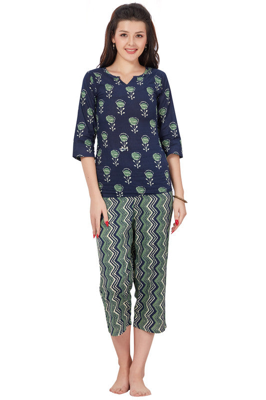 Navy & Green Printed Cotton Night Suit- 1088 - The Loungewear
