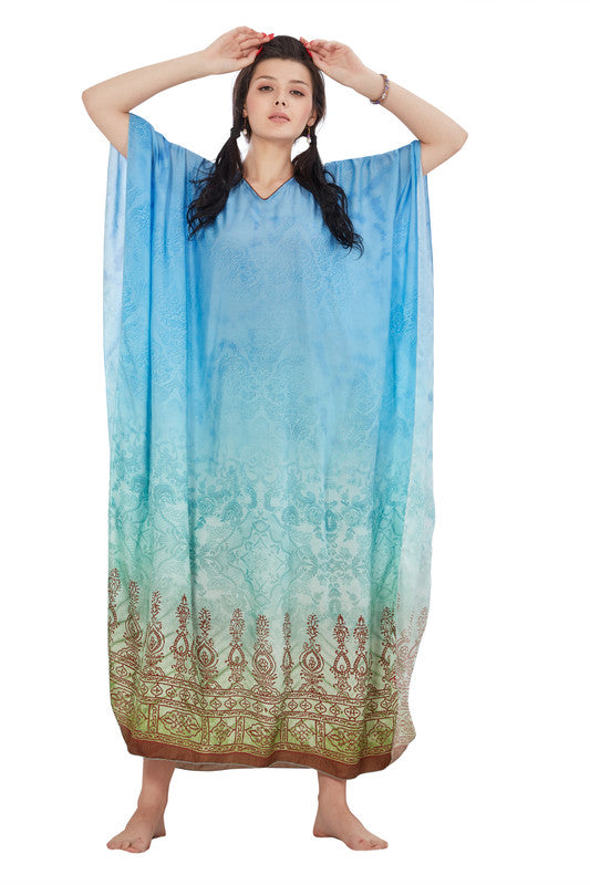 Blue Abstract Print Muslin Viscose Kaftan - 1093 - The Loungewear