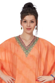 Orange & Dark Pink Geometric Print Muslin Viscose Kaftan - 1091 - The Loungewear