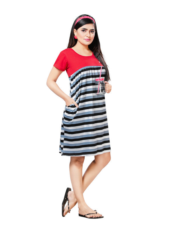 Women Red & Blue Striped Hosiery Short Nighty-1063 - The Loungewear