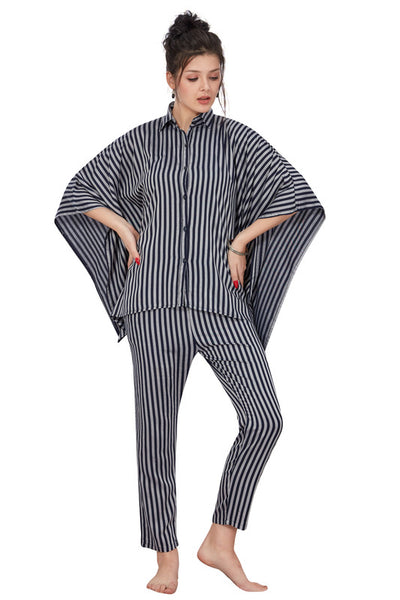 Grey & Black Striped Rayon Twill Kaftan Night Suit- 1085 - The Loungewear