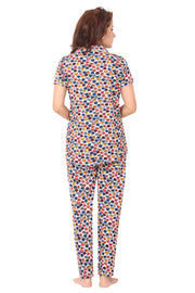Multi-Coloured Polka Dot Knitted Lycra Hosiery Night Suit-1070 - The Loungewear