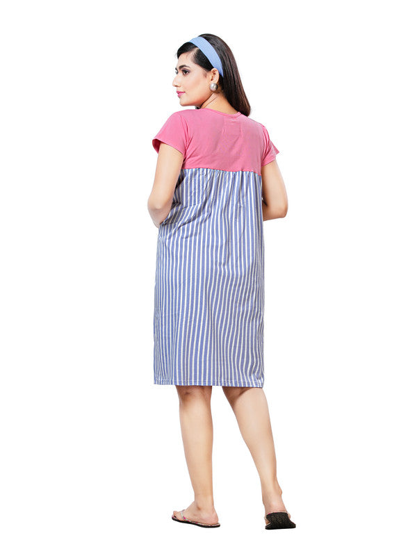 Women Pink & Blue Striped Hosiery Short Nighty-1064 - The Loungewear